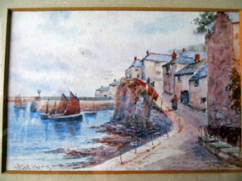 Newlyn Harbour, signed T.H. Victor c1930.  SOLD.