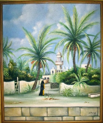 Middle Eastern scene with female figure, signed H. Burns.