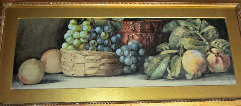 Still-life study of Grapes and Peaches, signed A. Dudley 1895.