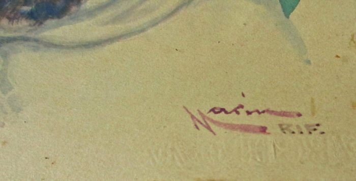 Embossed script below the signature.