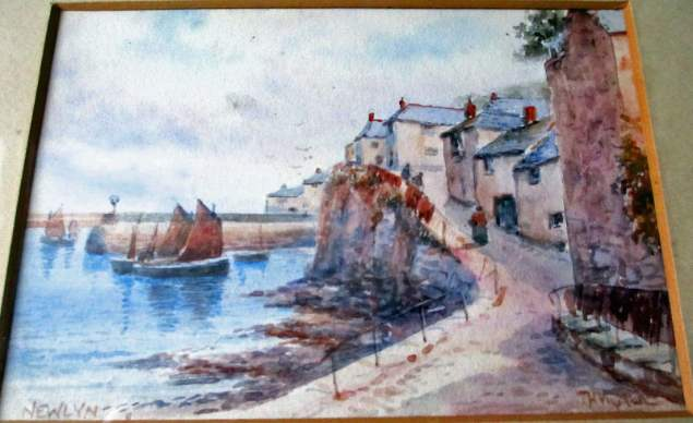 Watercolour painting of Newlyn Harbour signed T.H. Victor, c1930.