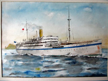 H.M.T. Dorsetshire, pen,ink and watercolour, signed Gordon T. Kell 1953.  SOLD  26.04.2017.