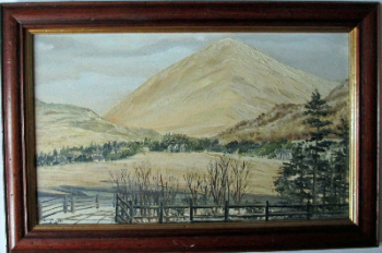 Tyndrum, with its guardian Beinn Odhar, oil on board, signed Colin MacRae 4/2/79.