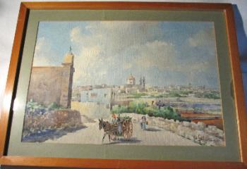 Casal Gharghur, signed Jos. Galia, Malta 1970.  SOLD.