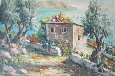 The Amalfi Coast, Italy, oil on canvas laid to board. signed Gomez, c1970.
