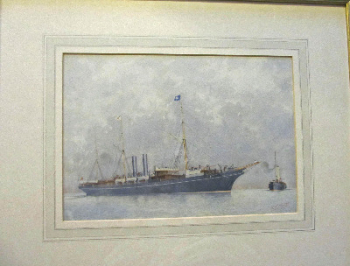 RMS Orinoco awaiting approaching pilot vessel, watercolour on textured paper, signed A.E. Morris, c1900.