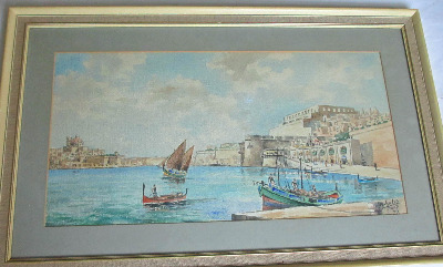 Valletta Harbour Malta, signed Joseph Galea, Malta, 1977.   SOLD.