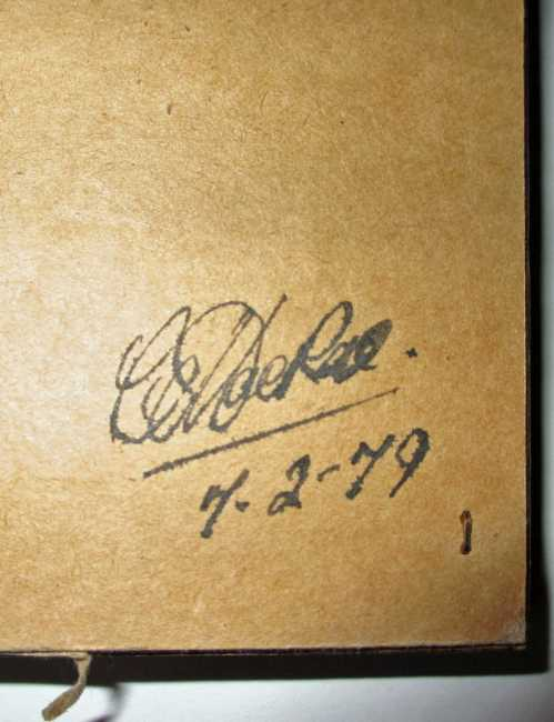 Artist's signature and date on the back lower rh corner.