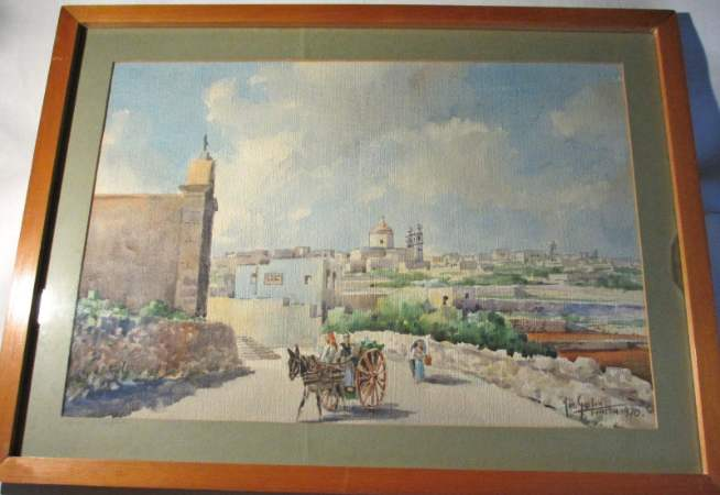 Watercolour on paper painting of Casal Gharghur signed Jos. Galea 1970.