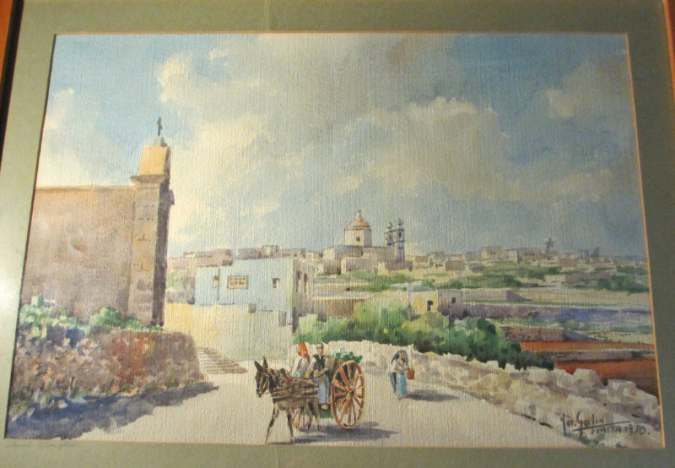 Another view of the watercolour Casal Gharghur.