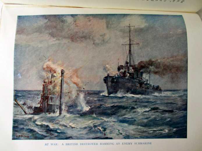 A British destroyer ramming an enemy submarine.