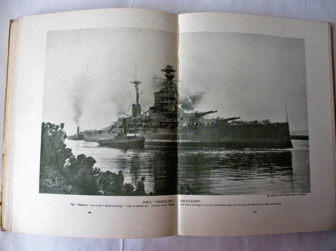 Black and white double page photo of HMS Ramillies (Battleship).