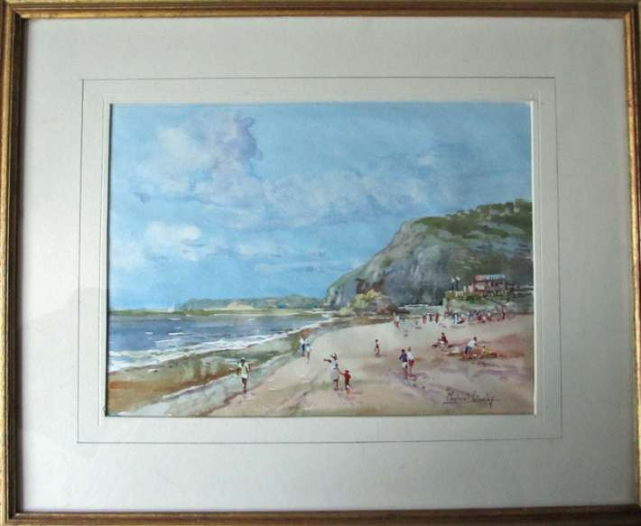 Watercolour painting Sidmouth Devon signed Michael Crawley c1985.