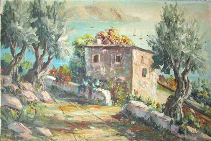 "An impasto oil painting on canvas entitled ""Amalfi Coast Italy"" signed Gomez c1970."