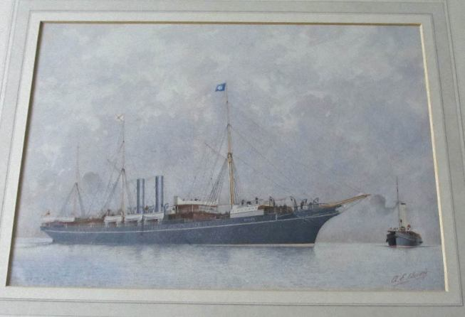 RMS Orinoco awaiting the approaching pilot vessel, watercolour, signed A.E. Morris, c1900.