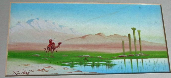 Man on camel in Egyptian desert signed Felix More' c1930