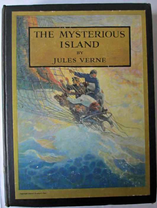 Front board with colour illustration pasted, The Mysterious Island by Jules Verne.