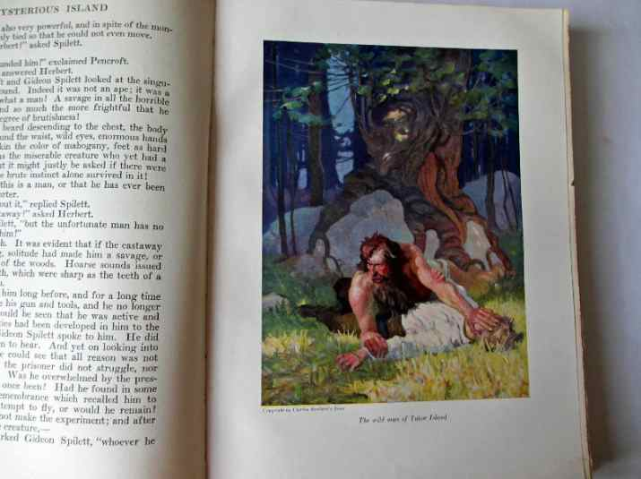 "Colour plate facing p278 ""The wild man of Tabor Island"" illustration by N. C. Wyeth."