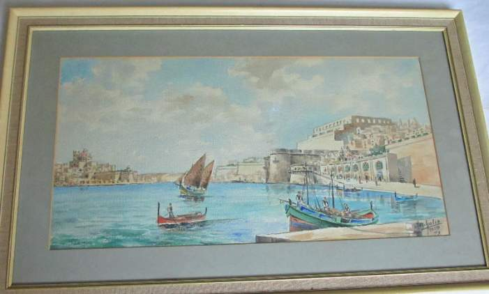 Watercolour on paper study of the Grand Harbour Valletta signed by Jos. Galea 1977.