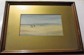 Camel train leaving the desert town, watercolour on paper, signed Jamrack, c1880.  SOLD.
