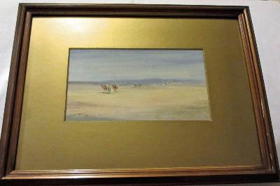 Camel train leaving the desert town, watercolour on paper, signed Jamrack,