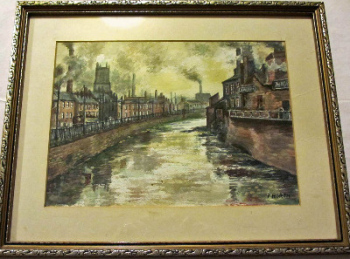 River Don Industrial Scene, Sheffield, watercolour on paper, signed F. North (Frank North) c1960.  SOLD  05.12.2015.