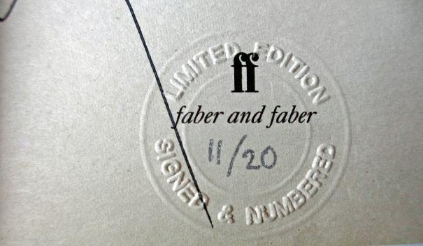 Publisher's embossed limited edition stamp with edition number 11/20.