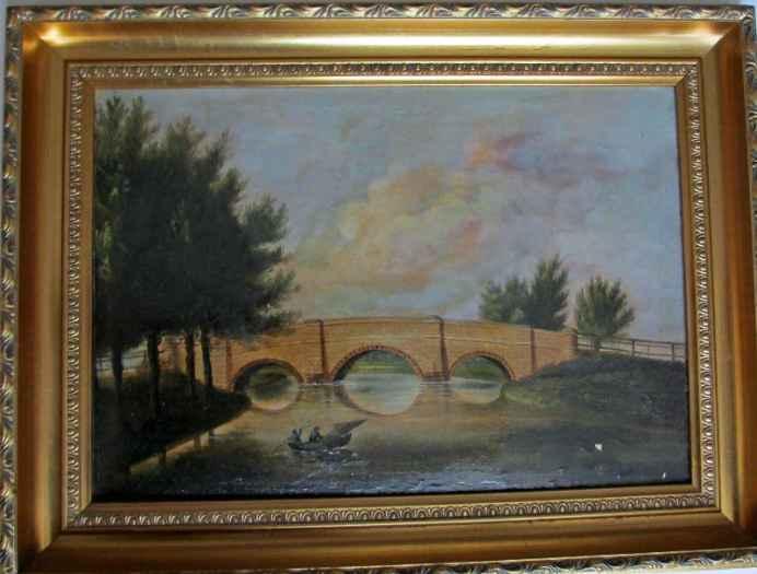 Packhorse Bridge, oil on canvas, 19th C English School, unsigned, c1870.