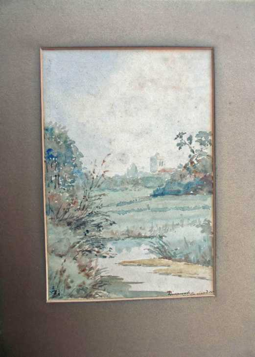 Watercolour on card, Ringwood Church viewed from Watermeadows, signed RE, 1930.