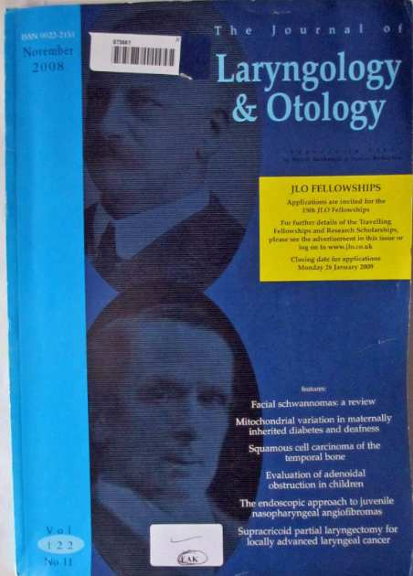 The front cover of The Journal of Laryngology & Otology November 2008.