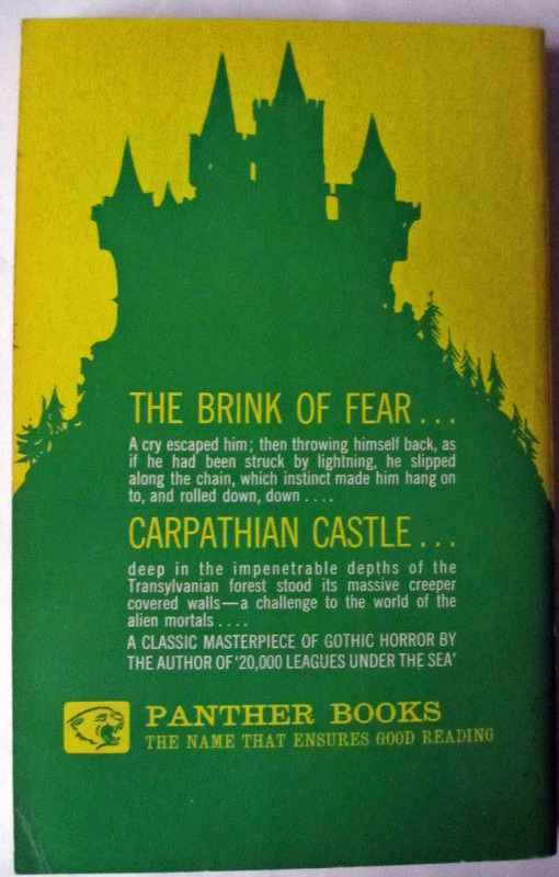 Back cover with extract from novel on green and yellow.