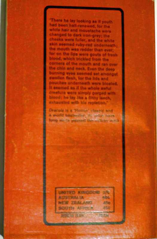 Back cover of Dracula.