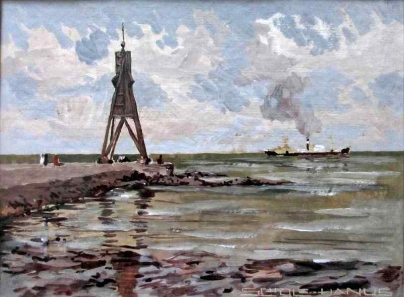 Kugelbake beacon, gouache on card signed Scholz Hanus c1960.