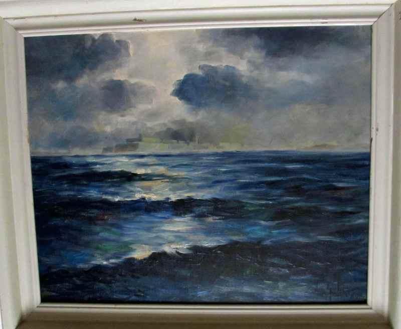 Moonlit ocean view of Valletta Malta, signed Jos Galea 1944.