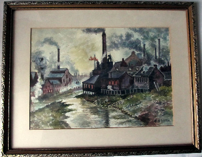 Sheffield Industrial Scene, watercolour on paper, signed F. North. c1960.