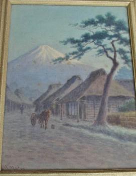 Fujiyama, village scene, signed by M. Matsu, c1930. Original frame.