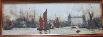 The Pool of London, watercolour on paper, signed KEH (K.E.Howarth), c1899.  SOLD.