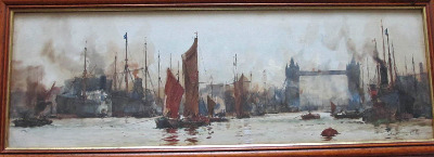 The Pool of London, watercolour on paper, signed KEH (K.E.Howarth), c1899.