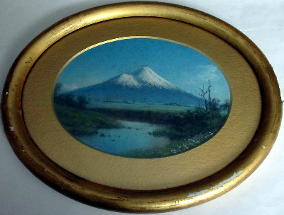 Fujiyama, gouache on card, no visible signature, c1930.