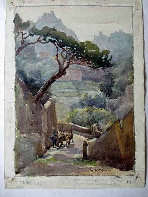 The Steep Climb, watercolour on paper, signed M. Kitchener, Feb 22 1934.
