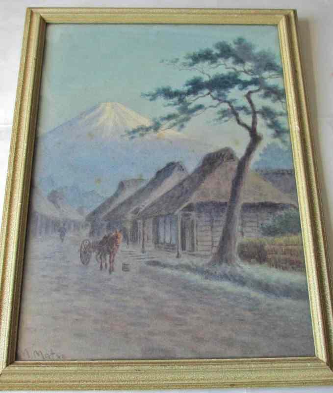 Watercolour painting of Fujiyama signed M. Matsu, c1930.