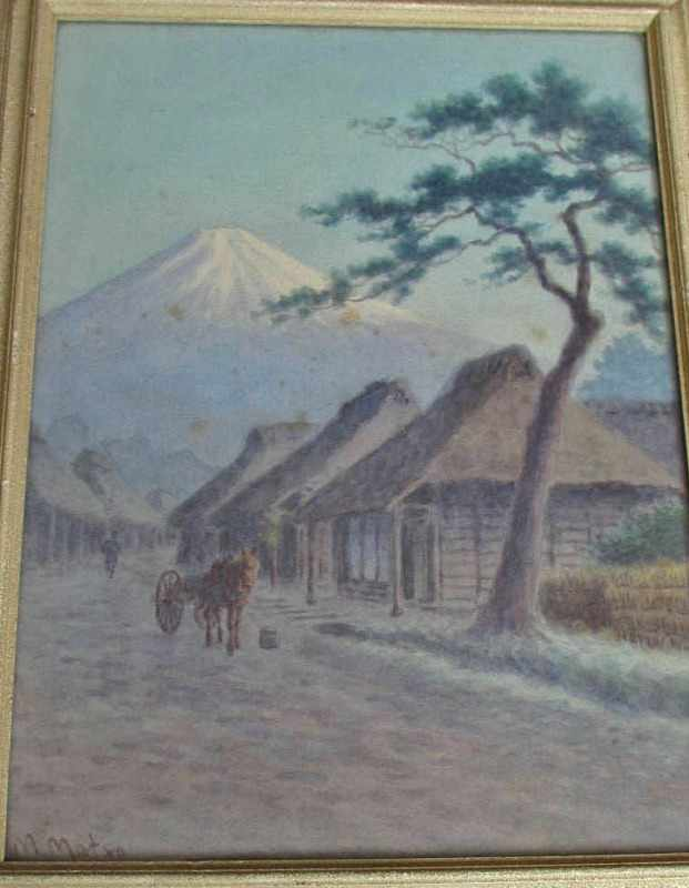 Fujiyama, village scene, signed M. Matsu.