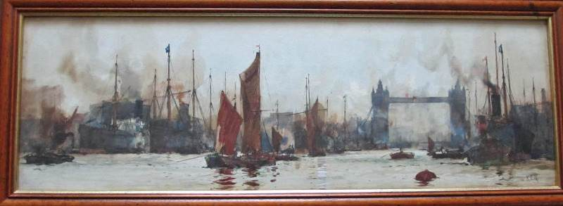 Watercolour painting of The Pool of London signed KEH c1899.