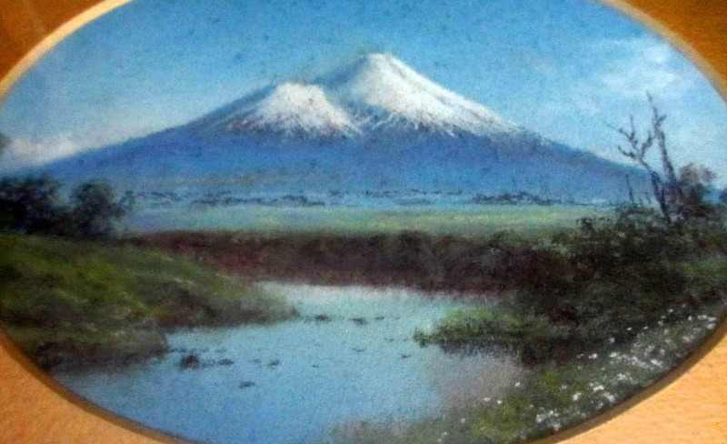 Fujiyama, gouache on card, unsigned. c1930.