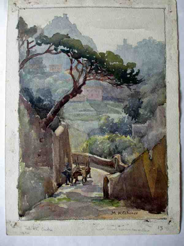 The steep climb, watercolour painting signed M. Kitchener, dated Feb 22 1934.