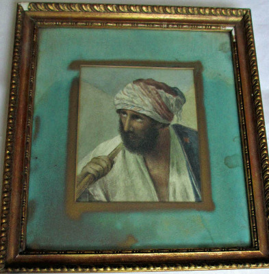 Arabian portrait study, watercolour on card, unsigned. c1900.   SOLD.