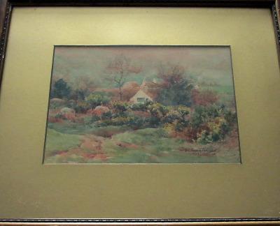 Dartmoor Cottage scene, signed E.C. Pascoe Holman, 1920.