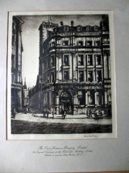 The Orion Insurance Company Limited, Head Office Building, London, Dry-point etching, signed Henry Rushbury, c1925.