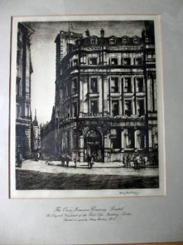 The Orion Insurance Company Limited, Head Office Building, London, Dry-point etching, signed Henry Rushbury, c1925.   SOLD 03.08.2018