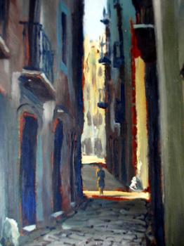Continental Street Scene, oil on board, signed Grivelero Gomez.  SOLD.